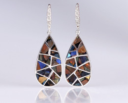 Handcrafted Ammonite Fossil And Labradorite gemstone inlay teardrop earring
