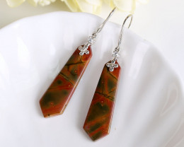 Multi-Color jasper Tie drop Earrings 925 Sterling Silver Findings H2248