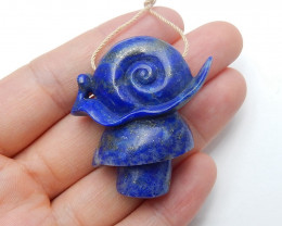 Lapis Lazuli hand carved snail animal pendant  gemstone collection H3048