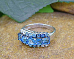 Natural Blue Topaz 925 Sterling Silver Ring(SSR0474 )