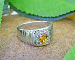 Natural Citrine 925 Sterling Silver Ring (SSR0469 )