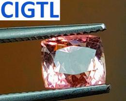Certified Unheated 2.61 CT Fancy-Cut Orangy Pink Tourmaline