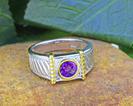 Natural Amethyst  925 Sterling Silver Ring(SSR0466 )