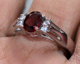Natural Faceted Red Garnet 925 Sterling Silver Ring Size ( 7.5 US) 45