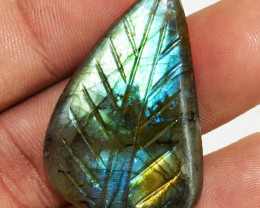 Genuine 49.00 Cts Amazing Flash Labradorite Carved Cabochon