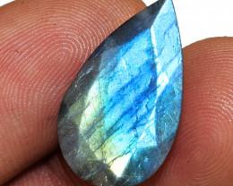Genuine 8.00 Cts Pear Shape Blue Flash Labradorite Faceted Cabochon