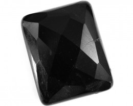 Genuine 46.00 Cts Black Spinel Faceted Cabochon