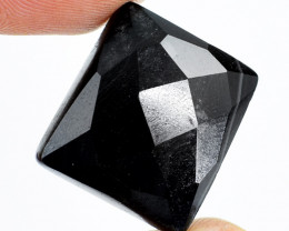 Genuine 35.00 Cts Faceted Black Spinel Cabochon