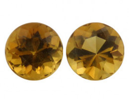 2.59 cttw Pair of Round Citrines  (Brownish Yellow)