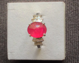 Ruby & Diamond Ring in Platinum Overlay Sterling Silver