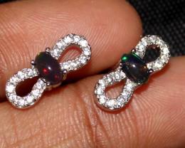 Natural Ethiopian Welo Fire Smoked Opal 925 Silver Stud Earrings 132