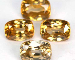 8.26 Cts Natural Zircon Imperial Color 4 Pcs Cushion Cut Tanzania