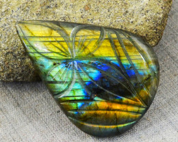 Genuine 114.00 Amazing Flash Carved Labradorite Gem