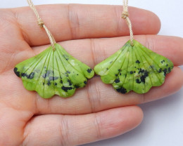 Beautiful carved leave earring pairs wholesale gemstone designer A960