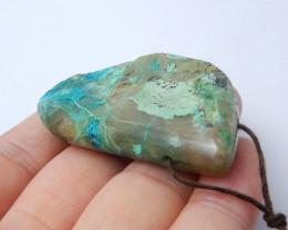 123cts Chrysocolla Stone Pendant, Raw Chrysocolla Healing stone A975