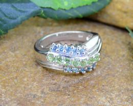 Natural Topaz & Peridot 925 Sterling Silver Ring (SSR0473 )