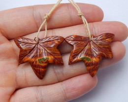 Beautiful carved leave earring pairs multi color jasper gemstone A964