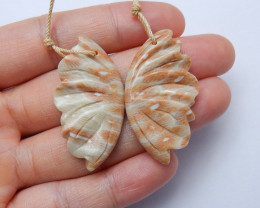 Beautiful carved butterfly ocean jasper earring pairs gemstone A976