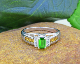 Natural Chrome Diopside & Citrine 925 Sterling Silver Ring (SSR0464 )