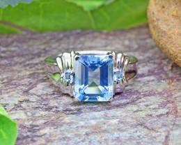 Natural Blue Topaz 925 Sterling Silver Ring (SSR0462 )