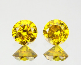 ~PAIR~ 0.12 Cts Natural Sparking Yellow Diamond Round Africa