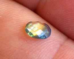 0.66cts Natural Australian Yellow Parti Sapphire Oval Checker Board Cut