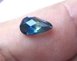 2.11cts Natural Australian Blue Parti Sapphire Pear Checker Board Cut