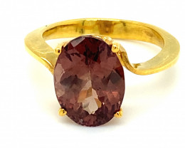 GIA Certified Voi Color Change Garnet 6.67ct Solid 18K Yellow Gold Ring