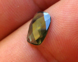 1.14cts Natural Australian Green Parti Sapphire Cushion Checker Board Cut