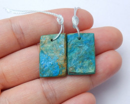 21.5cts Raw blue opal earrings ,Rectangle drop earrings ,healing stone (A95