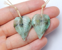 27.5cts Blue chrysocolla earrings ,carved leave earrings ,healing stone A95