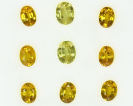 2.41 Cts Natural Canary Yellow Sapphire 4.5 x 3.5 mm Oval Madagascar 9 Pcs