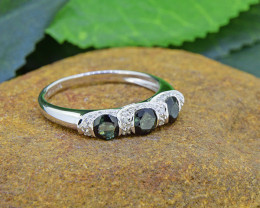 Natural Tourmaline & Diamond  925 Sterling Silver Ring (SSR0475 )