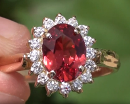 Red Mahenge Spinel 1.82ct and Natural Diamonds, 18ct Solid Gold Ring, GIA C