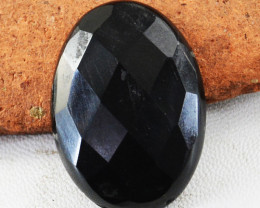 Genuine 45.00 Cts Faceted Black Spinel Oval Shape Cabochon