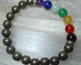 collective PIECES  Pyrite Stone Bracelet 8mm
