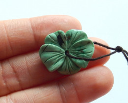 Carved turquoise pendant , natural turquoise, flower pendant , beadsA979