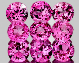 3.00 mm Round 9 pieces {1.04ct} Pink Tourmaline [VVS]