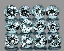 4.0 mm Round 12 pieces {3.42cts} Sky Blue Topaz [VVS]
