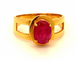 GIA Certified and Sourced Verified Jegdalek Ruby 2.66ct 21K Solid Gold Ri