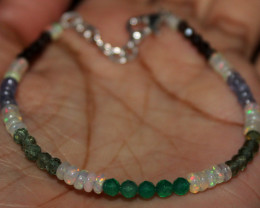 Ethiopian Opal, Onyx, Apatite, Smokey, Tanzanite Beads Bracelet 108