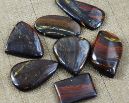 Genuine 220.00 Cts Untreated Iron Tiger Eye Cabochon Lot