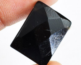 Genuine 17.00 Cts Black Spinel Faceted Cabochon