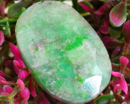 Genuine 40.00 Cts Green Emerald Faceted Cabochon