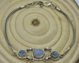 NATURAL UNTREATED RAINBOW MOONSTONE   BRACELET 925 STERLING SILVER JE1380
