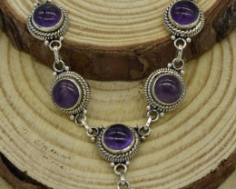 NATURAL UNTREATED AMETHYST  NECKLACE 925 STERLING SILVER JE1377