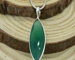 CERTIFIED  PENDANT 925 STERLING SILVER GREEN ONYX  NATURAL GEMSTONE JE1281