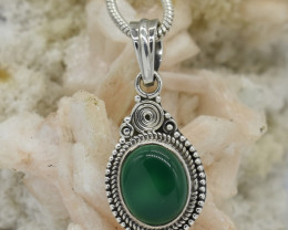 PENDANT 925 STERLING SILVER GREEN ONYX  NATURAL GEMSTONE JE1317