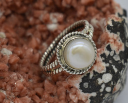 RING 925 STERLING SILVER CULTURED PEARL  NATURAL GEMSTONE JE1381