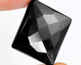Genuine 30.00 Cts Untreated Black Spinel Faceted Cabochon